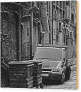 Dirty Back Streets Mono Wood Print