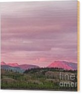 Distant Yukon Mountains Glowing In Sunset Light Wood Print