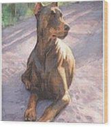 Doberman Puppy Pencil Portrait Wood Print