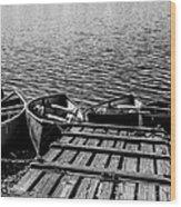Dock At Island Lake Wood Print