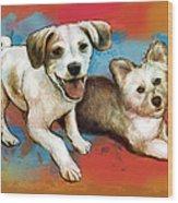 Dog Stylised Pop Modern Art Drawing Sketch Portrait Wood Print