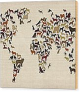 Dogs Map Of The World Map Wood Print