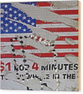 1 Dollar For Four Minutes Sign Telephone American Flag Eloy Arizona 2005 Wood Print