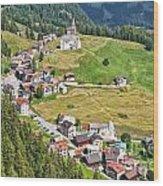 Dolomiti - Laste Village Wood Print
