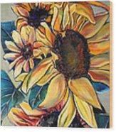Dooley's Sunflowers Wood Print