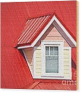 Dormer Window On Red Roof Wood Print