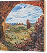 Double Arch Wood Print by Aaron Spong