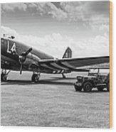 Douglas C-47a Skytrain Ready For D-day Wood Print