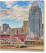 Downtown Cincinnati Pano1 Wood Print