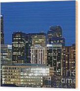 Downtown Denver At Dusk Wood Print
