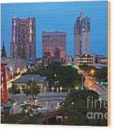 Downtown San Antonio Texas Skyline Wood Print