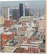 Downtown Skyline Of Louisville Kentucky Wood Print