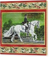 Dressage Horse Christmas Card Wood Print