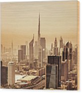 Dubai Downtown Skyscrapers And Office Wood Print