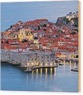 Dubrovnik City Skyline At Dawn Wood Print