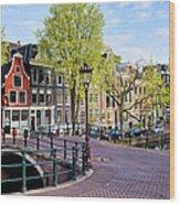 Dutch Canal Houses In Amsterdam Wood Print
