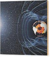 Earths Magnetic Field Wood Print