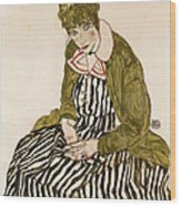 Edith With Striped Dress Sitting Wood Print