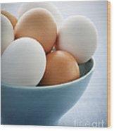 Eggs In Bowl Wood Print by Elena Elisseeva