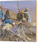 Egyptians Raising Water From The Nile Wood Print