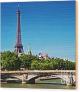 Eiffel Tower And Bridge On Seine River In Paris France Wood Print