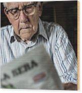 Elderly Man Reading A Newspaper Wood Print