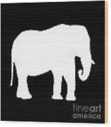Elephant In Black And White Wood Print