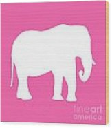 Elephant In Pink And White Wood Print