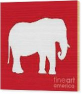 Elephant In Red And White Wood Print