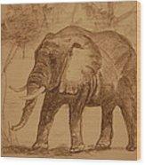 Elephant Walk Wood Print