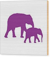 Elephants In Purple And White Wood Print