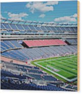 Elevated View Of Gillette Stadium, Home Wood Print