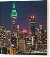 Empire State Building on Saint Patrick's Day Wood Print