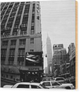 Empire State Building Shrouded In Mist As Yellow Cabs Crossing Crosswalk On 7th Ave And 34th Street Wood Print
