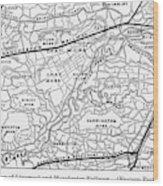 England Railroad Map Wood Print