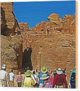 Entering Mile-long And 600 Foot High Gorge Leading To Treasury In Petra-jordan  Wood Print