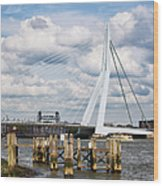 Erasmus Bridge In Rotterdam Wood Print