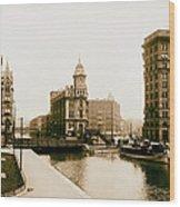 Erie Canal On Salina Street In Syracuse New York - Circa 1904 Wood Print