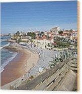 Estoril Beach In Portugal Wood Print