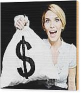 Euphoric Business Woman Holding Unexpected Windfall Wood Print
