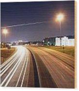 Evening Traffic On Highway Wood Print