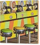 Evergreen State Fair Midway Game With Coloful Stools And Squirt  Wood Print