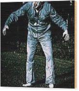 Evil Dead Horror Zombie Walking Undead In Cemetery Wood Print