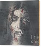 Evil Dead Vampire Woman Looking In Bloody Window Wood Print