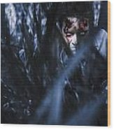 Evil Man Hiding In Silence At Dark Forest  Wood Print
