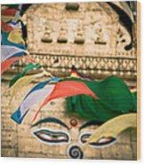 Eye Boudhanath Stupa In Nepal Wood Print by Raimond Klavins