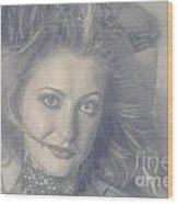 Face Of Beautiful Woman In Makeup Close-up Wood Print
