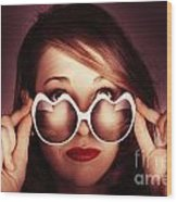 Face Of Cool Fashion Woman In Retro Summer Love Wood Print