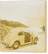 Faded Film Surfing Memories Wood Print