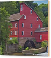 Faded Red Water Mill On The Dam Of The Raritan River Wood Print